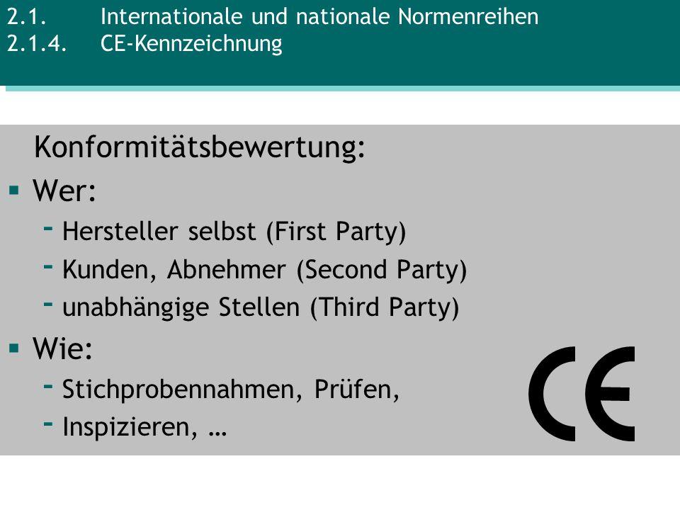 Konformitätsbewertung: Wer: - Hersteller selbst (First Party) - Kunden, Abnehmer (Second Party) - unabhängige Stellen (Third Party) Wie: - Stichproben