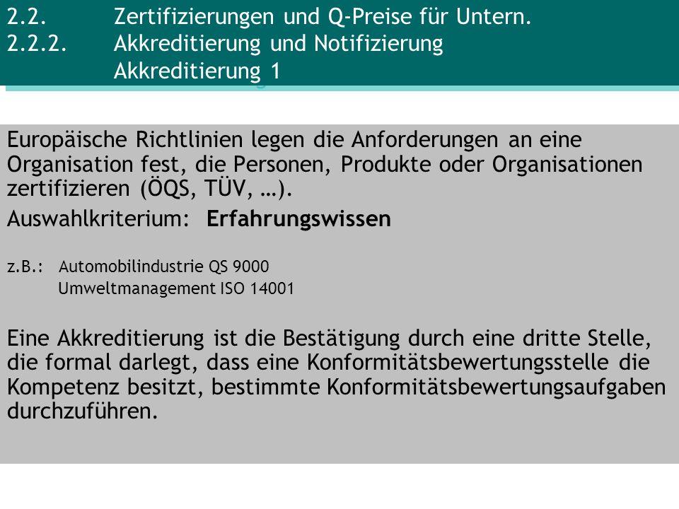 Europäische Richtlinien legen die Anforderungen an eine Organisation fest, die Personen, Produkte oder Organisationen zertifizieren (ÖQS, TÜV, …). Aus