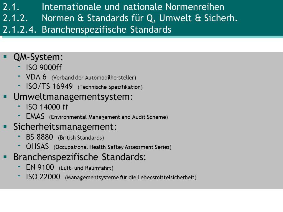 QM-System: - ISO 9000ff - VDA 6 (Verband der Automobilhersteller) - ISO/TS 16949 (Technische Spezifikation) Umweltmanagementsystem: - ISO 14000 ff - E