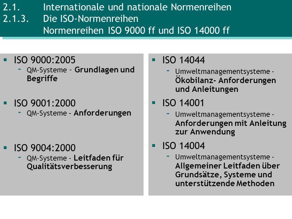 ISO 9000:2005 - QM-Systeme - Grundlagen und Begriffe ISO 9001:2000 - QM-Systeme – Anforderungen ISO 9004:2000 - QM-Systeme - Leitfaden für Qualitätsve