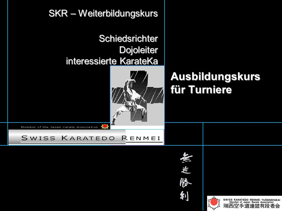 Kinderturniere SKR Team-KATA Team-KATA Einteilung nach Fähigkeitsstufe US / OS und nach Alter Einteilung nach Fähigkeitsstufe US / OS und nach Alter US 2 Katas zeigen können (Vorausscheidung 2 Kata alternieren) OS (ab grün) für Medaillenplatz andere Kata NEU mit Bunkai US 2 Katas zeigen können (Vorausscheidung 2 Kata alternieren) OS (ab grün) für Medaillenplatz andere Kata NEU mit Bunkai realistische Vorführung von Karatetechniken zu dritt.