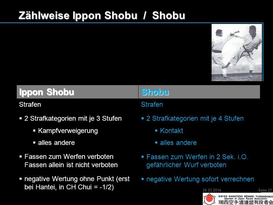 Zählweise Ippon Shobu / Shobu Ippon Shobu Shobu Strafen 2 Strafkategorien mit je 3 Stufen 2 Strafkategorien mit je 3 Stufen Kampfverweigerung Kampfverweigerung alles andere alles andere Fassen zum Werfen verboten Fassen allein ist nicht verboten Fassen zum Werfen verboten Fassen allein ist nicht verboten negative Wertung ohne Punkt (erst bei Hantei, in CH Chui = -1/2) negative Wertung ohne Punkt (erst bei Hantei, in CH Chui = -1/2)Strafen 2 Strafkategorien mit je 4 Stufen 2 Strafkategorien mit je 4 Stufen Kontakt Kontakt alles andere alles andere Fassen zum Werfen in 2 Sek.