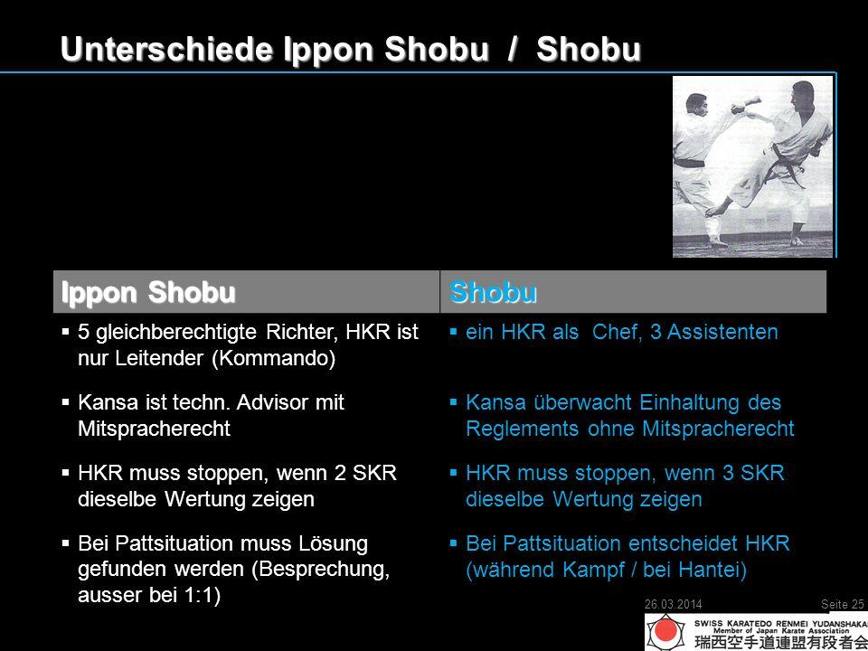 Unterschiede Ippon Shobu / Shobu Ippon Shobu Shobu 5 gleichberechtigte Richter, HKR ist nur Leitender (Kommando) 5 gleichberechtigte Richter, HKR ist nur Leitender (Kommando) Kansa ist techn.