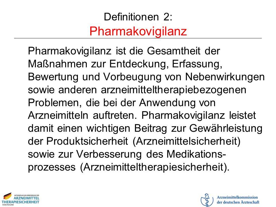Definitionen 2: Pharmakovigilanz Pharmakovigilanz ist die Gesamtheit der Maßnahmen zur Entdeckung, Erfassung, Bewertung und Vorbeugung von Nebenwirkun