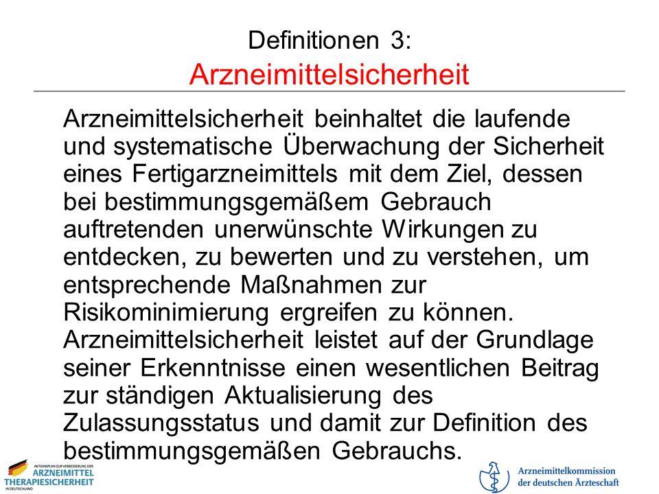 Definitionen 3: Arzneimittelsicherheit Arzneimittelsicherheit beinhaltet die laufende und systematische Überwachung der Sicherheit eines Fertigarzneim