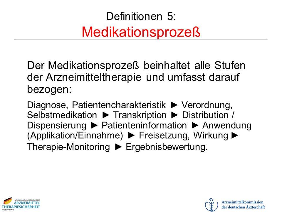 Definitionen 5: Medikationsprozeß Der Medikationsprozeß beinhaltet alle Stufen der Arzneimitteltherapie und umfasst darauf bezogen: Diagnose, Patiente