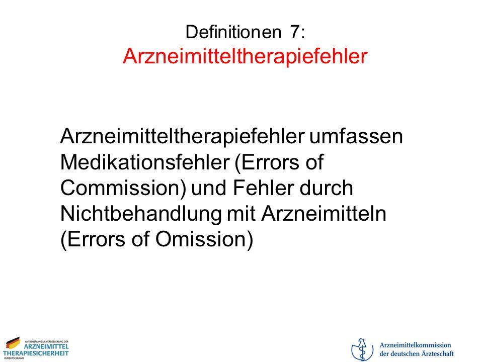 Definitionen 7: Arzneimitteltherapiefehler Arzneimitteltherapiefehler umfassen Medikationsfehler (Errors of Commission) und Fehler durch Nichtbehandlu