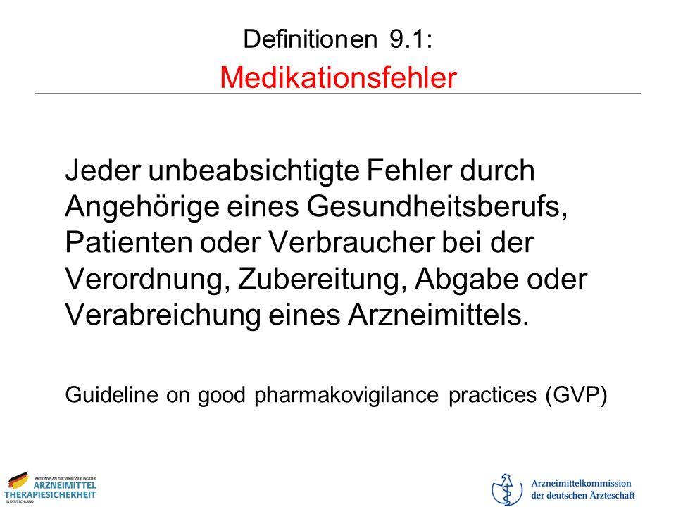Definitionen 9.1: Medikationsfehler Jeder unbeabsichtigte Fehler durch Angehörige eines Gesundheitsberufs, Patienten oder Verbraucher bei der Verordnu