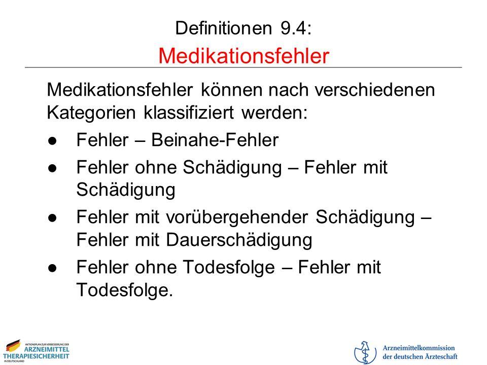Definitionen 9.4: Medikationsfehler Medikationsfehler können nach verschiedenen Kategorien klassifiziert werden: Fehler – Beinahe-Fehler Fehler ohne S