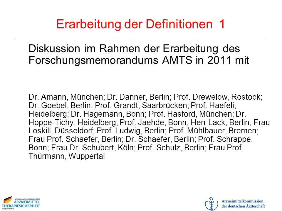 Erarbeitung der Definitionen 1 Diskussion im Rahmen der Erarbeitung des Forschungsmemorandums AMTS in 2011 mit Dr. Amann, München; Dr. Danner, Berlin;