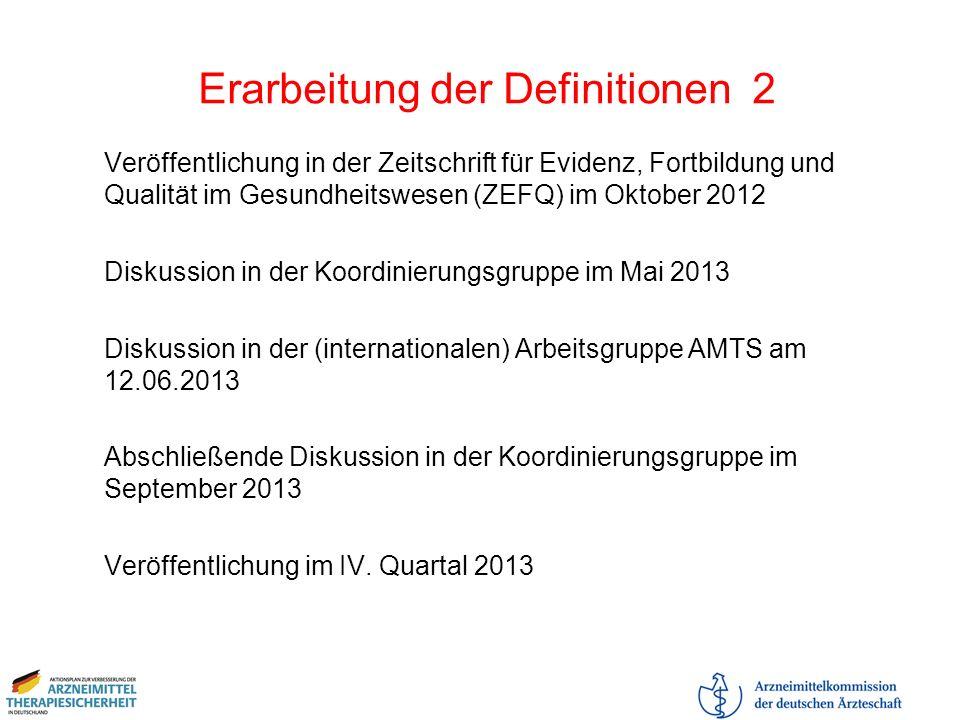 Erarbeitung der Definitionen 2 Veröffentlichung in der Zeitschrift für Evidenz, Fortbildung und Qualität im Gesundheitswesen (ZEFQ) im Oktober 2012 Di