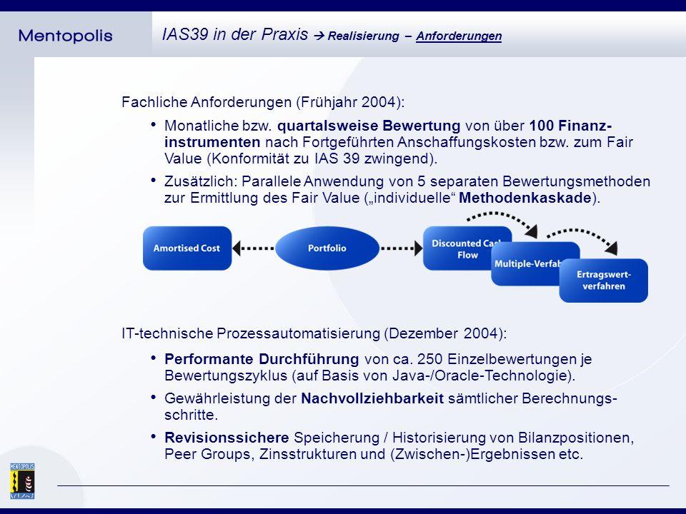 Fachliche Anforderungen (Frühjahr 2004): IAS39 in der Praxis Realisierung – Anforderungen IT-technische Prozessautomatisierung (Dezember 2004): Performante Durchführung von ca.