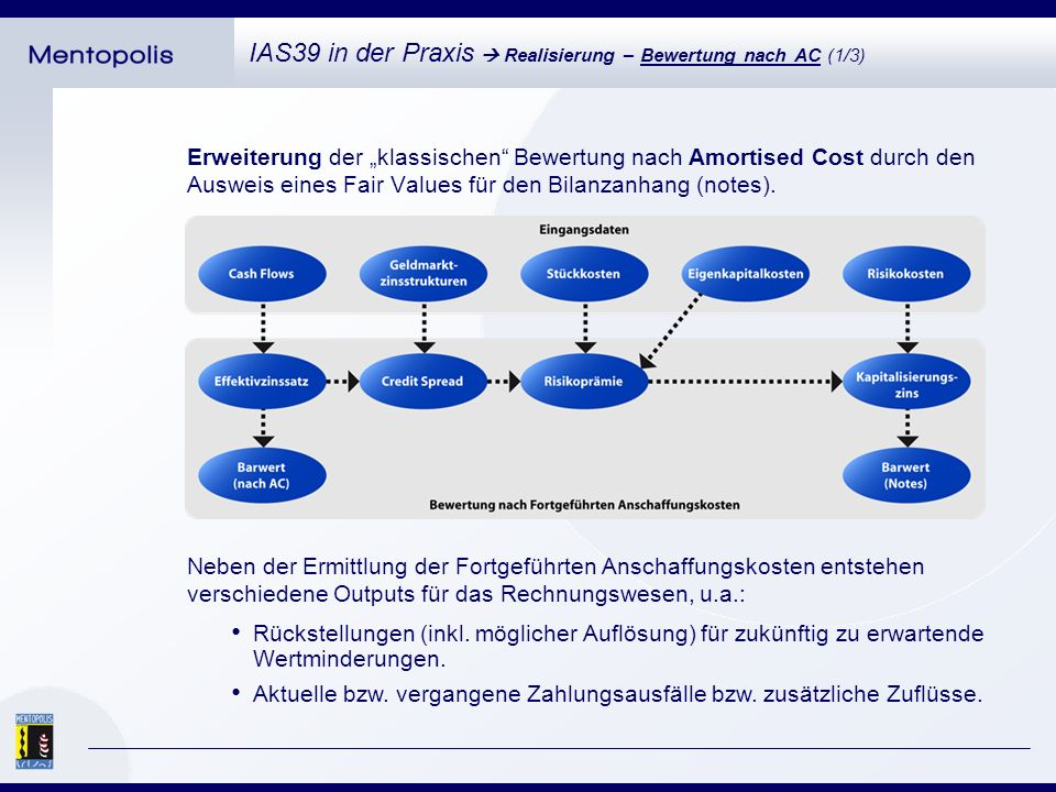 Mengengerüst (Kennzahlen im Kontext Amortised Cost): IAS39 in der Praxis Realisierung – Bewertung nach AC (2/3) Maximal 4 Jahresabschlüsse je Finanzinstrument (optional).