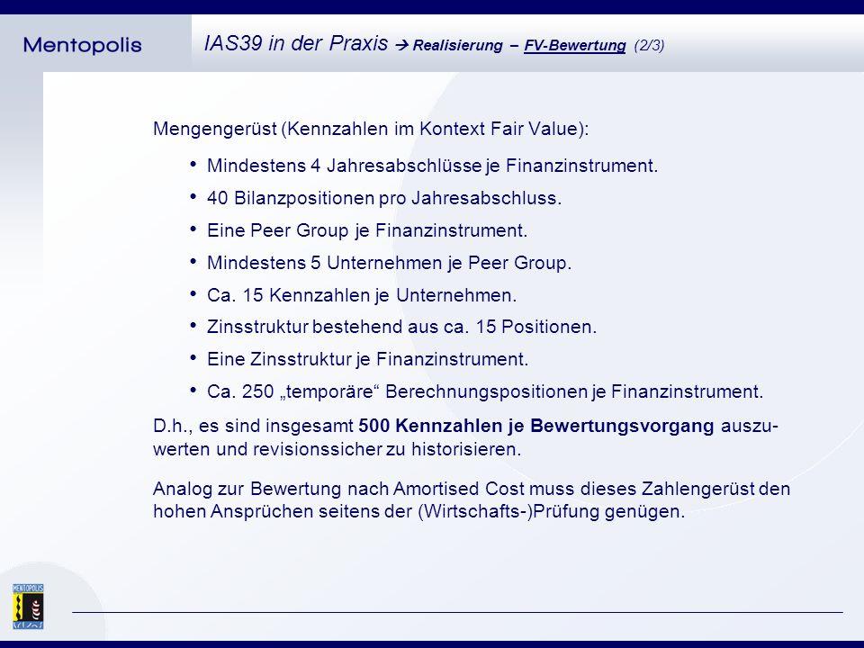 Beispiel für die Berechnung einer Fair-Value-Kennzahl: IAS39 in der Praxis Realisierung – FV-Bewertung (3/3) Fachliche Sicht: Ermittlung des Free Cash Flows (FCF): Free Cash Flow = Ergebnis der gewöhnlichen Geschäftstätigkeit – bezahlte Ertragssteuern (des Unternehmens) + Zinsen für langfristiges Fremdkapital + Nicht ausgabenwirksame Aufwendungen (Ab- schreibungen, Dotierung von Rückstellungen) – Nicht einnahmenwirksame Erträge (ertragswirk- same Auflösung von Rückstellungen) + Verminderung / - Zunahme des Working Capital – Investitionen Technische Sicht: Ermittlung des FCF für die zweite Planperiode: IAS116c = IAS001c – IAS002c – IAS003c + IAS103c + IAS105c + IAS004c – IAS106c + IAS005c + IAS107c – IAS108c – IAS109c – IAS110c + IAS111c + IAS011c + IAS112c – IAS113c