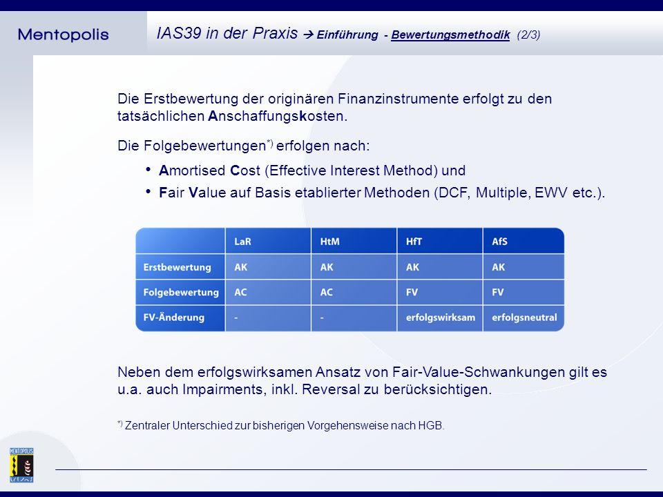 Die Erstbewertung der originären Finanzinstrumente erfolgt zu den tatsächlichen Anschaffungskosten.