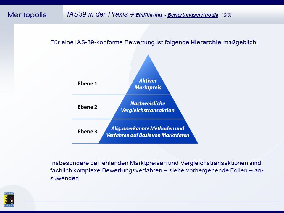 IAS39 in der Praxis Einführung - Bewertungsmethodik (3/3) Für eine IAS-39-konforme Bewertung ist folgende Hierarchie maßgeblich: Insbesondere bei fehlenden Marktpreisen und Vergleichstransaktionen sind fachlich komplexe Bewertungsverfahren – siehe vorhergehende Folien – an- zuwenden.