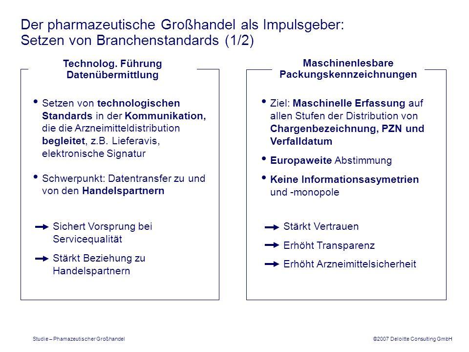 ©2007 Deloitte Consulting GmbH Studie – Phamazeutischer Großhandel Der pharmazeutische Großhandel als Impulsgeber: Setzen von Branchenstandards (1/2)