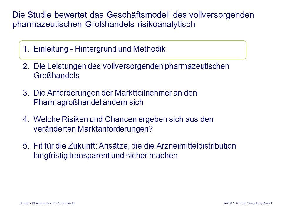 ©2007 Deloitte Consulting GmbH Studie – Phamazeutischer Großhandel Der pharmazeutische Großhandel als Impulsgeber: Setzen von Branchenstandards (1/2) Setzen von technologischen Standards in der Kommunikation, die die Arzneimitteldistribution begleitet, z.B.
