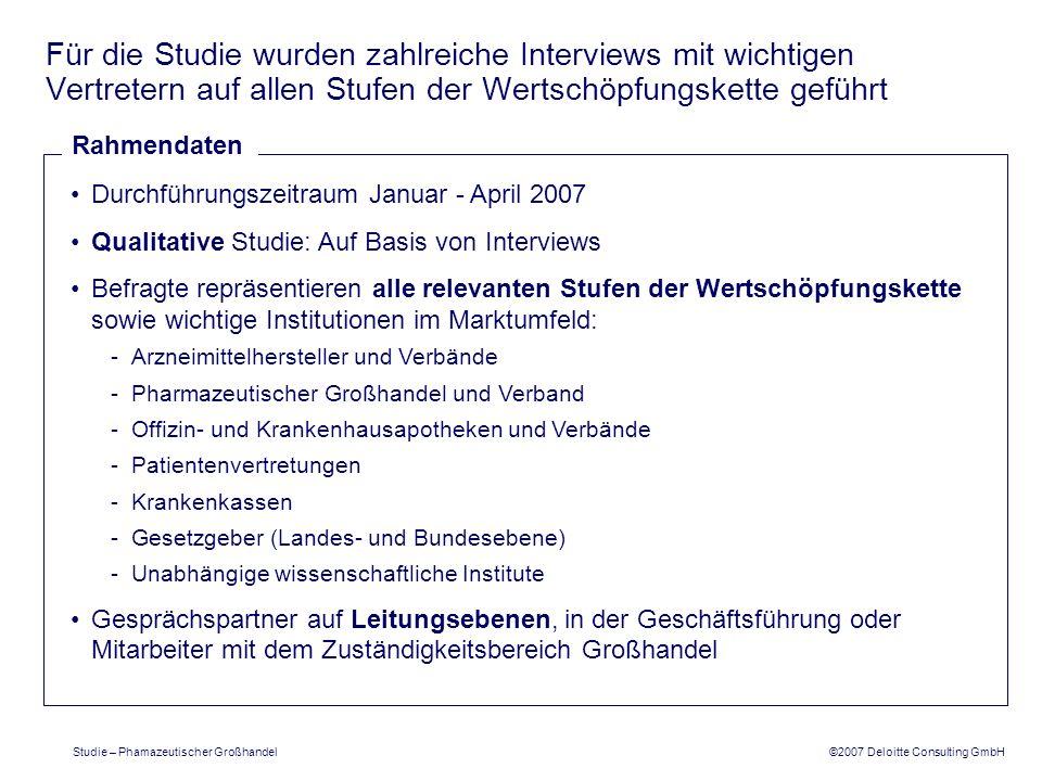 ©2007 Deloitte Consulting GmbH Studie – Phamazeutischer Großhandel Für die Studie wurden zahlreiche Interviews mit wichtigen Vertretern auf allen Stuf