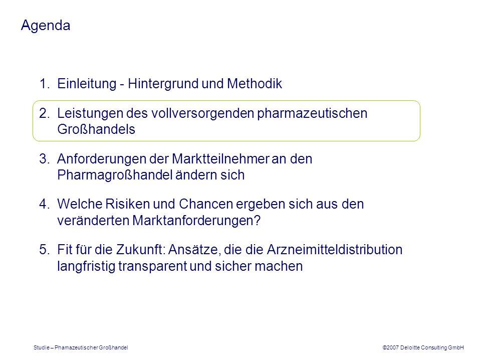 ©2007 Deloitte Consulting GmbH Studie – Phamazeutischer Großhandel Agenda 1.Einleitung - Hintergrund und Methodik 2.Die Leistungen des vollversorgenden pharmazeutischen Großhandels 3.Die Anforderungen der Marktteilnehmer an den Pharmagroßhandel ändern sich 4.Welche Risiken und Chancen ergeben sich aus den veränderten Marktanforderungen.