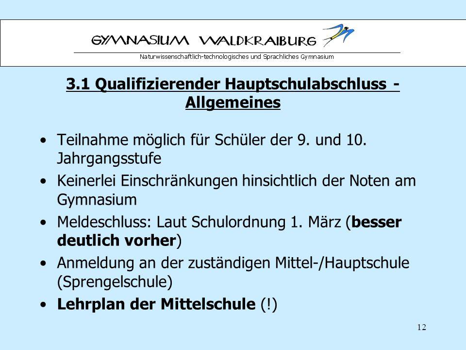 12 3.1 Qualifizierender Hauptschulabschluss - Allgemeines Teilnahme möglich für Schüler der 9.