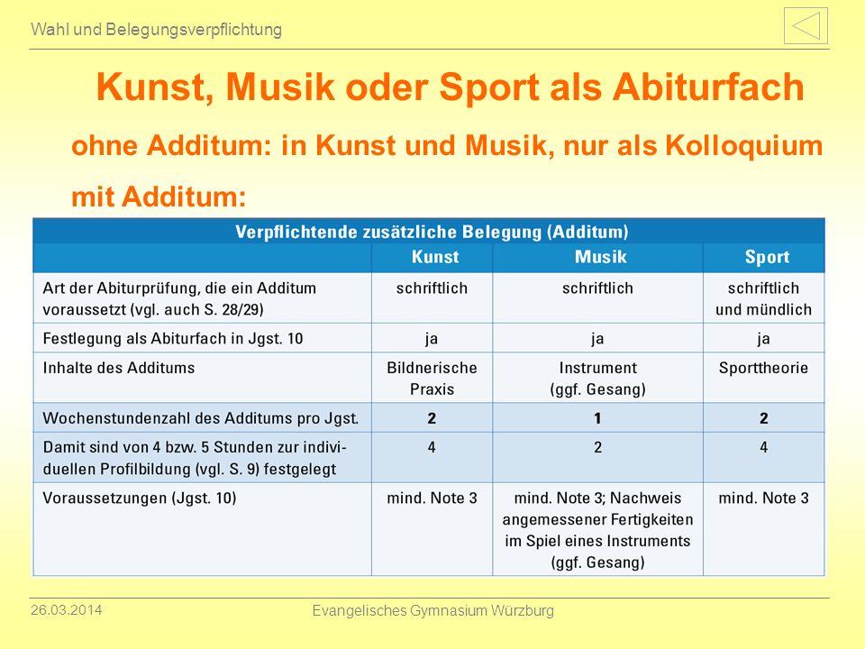 26.03.2014 Evangelisches Gymnasium Würzburg Wahl und Belegungsverpflichtung Kunst, Musik oder Sport als Abiturfach ohne Additum: in Kunst und Musik, n