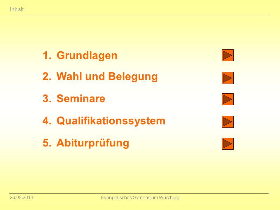 26.03.2014 Evangelisches Gymnasium Würzburg 1.Grundlagen 2.Wahl und Belegung 3.Seminare 4.Qualifikationssystem 5.Abiturprüfung Inhalt