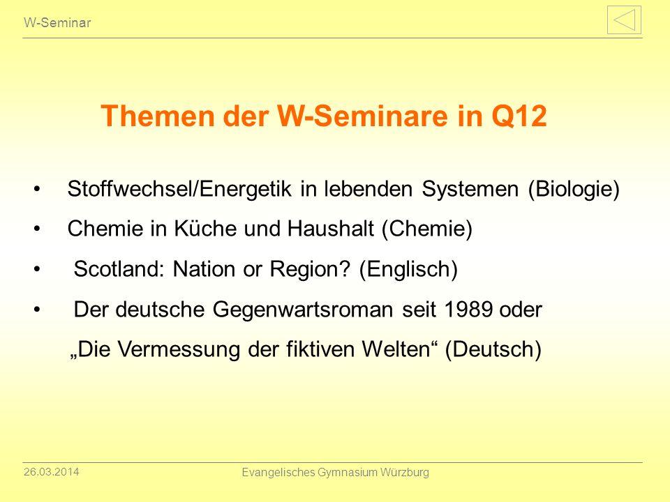 26.03.2014 Evangelisches Gymnasium Würzburg W-Seminar Stoffwechsel/Energetik in lebenden Systemen (Biologie) Chemie in Küche und Haushalt (Chemie) Sco