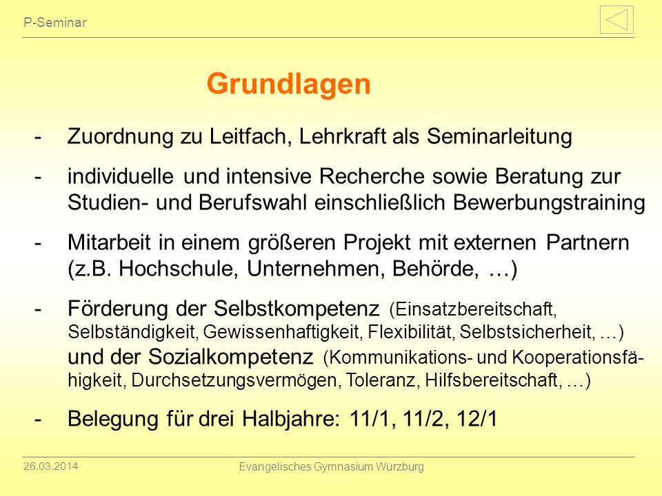 26.03.2014 Evangelisches Gymnasium Würzburg P-Seminar -Zuordnung zu Leitfach, Lehrkraft als Seminarleitung -individuelle und intensive Recherche sowie