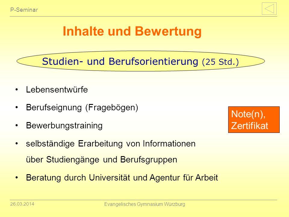 26.03.2014 Evangelisches Gymnasium Würzburg P-Seminar Inhalte und Bewertung Lebensentwürfe Berufseignung (Fragebögen) Bewerbungstraining selbständige