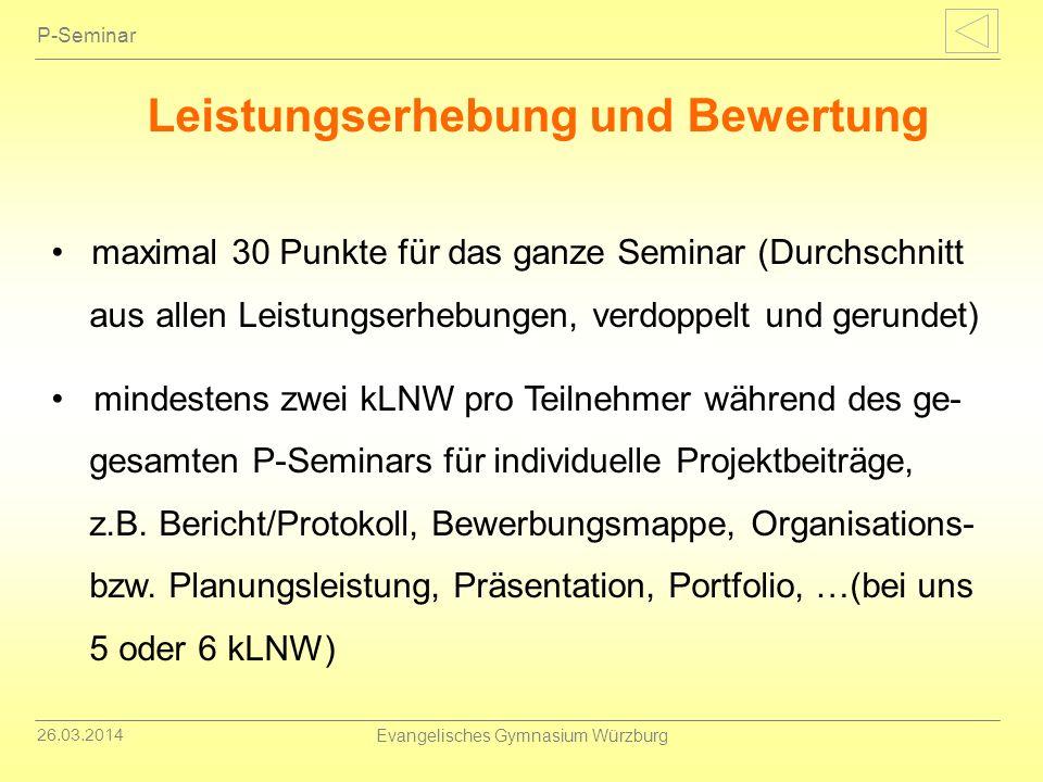 26.03.2014 Evangelisches Gymnasium Würzburg P-Seminar Leistungserhebung und Bewertung maximal 30 Punkte für das ganze Seminar (Durchschnitt aus allen