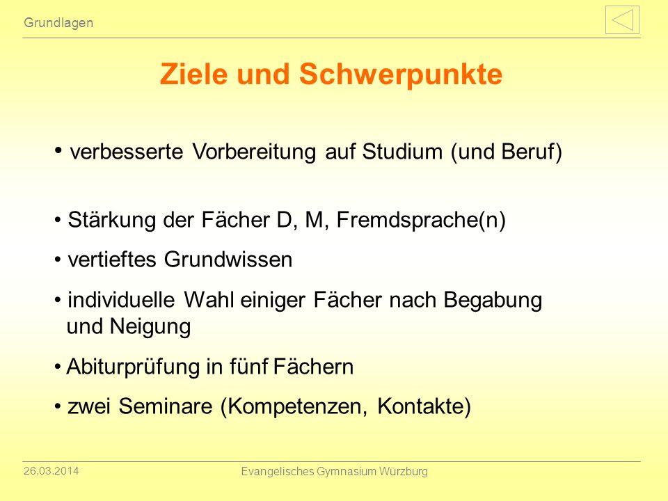 26.03.2014 Evangelisches Gymnasium Würzburg Demnächst: Broschüre zur Oberstufe Information der 10.