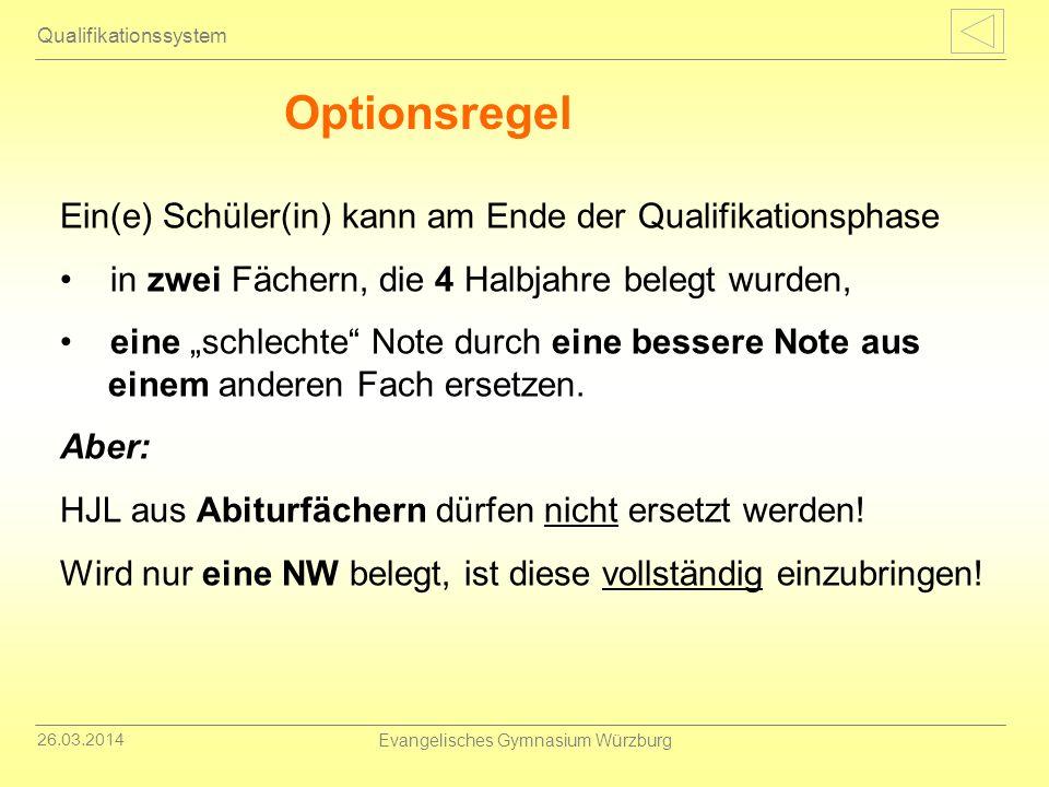 26.03.2014 Evangelisches Gymnasium Würzburg Qualifikationssystem Optionsregel Ein(e) Schüler(in) kann am Ende der Qualifikationsphase in zwei Fächern,