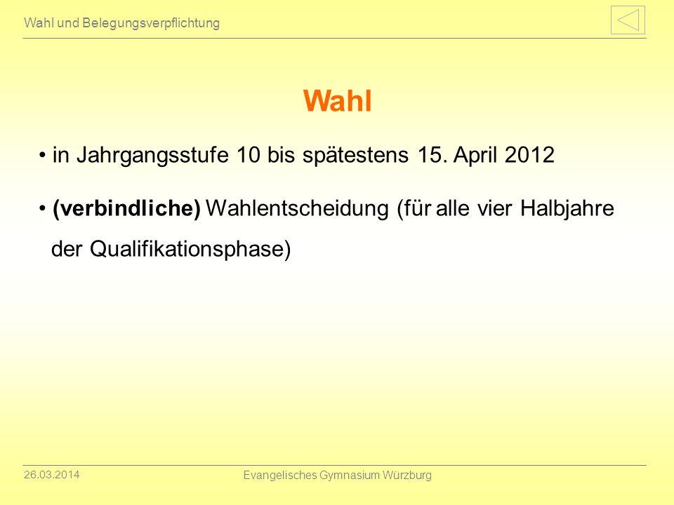 26.03.2014 Evangelisches Gymnasium Würzburg Gesamtqualifikation Qualifikationssystem Abiturprüfung 5 (Prüfungen) x 60 Punkte = 300 Punkte (max.) Qualifikationsphase (11/1 bis 12/2) 40 HJL x 15 Punkte = 600 Punkte (max.) Gesamtqualifikation 900 Punkte (max.)