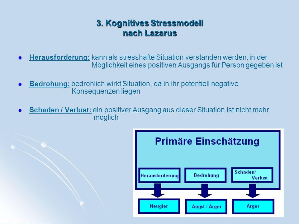 3. Kognitives Stressmodell nach Lazarus Herausforderung: kann als stresshafte Situation verstanden werden, in der Möglichkeit eines positiven Ausgangs