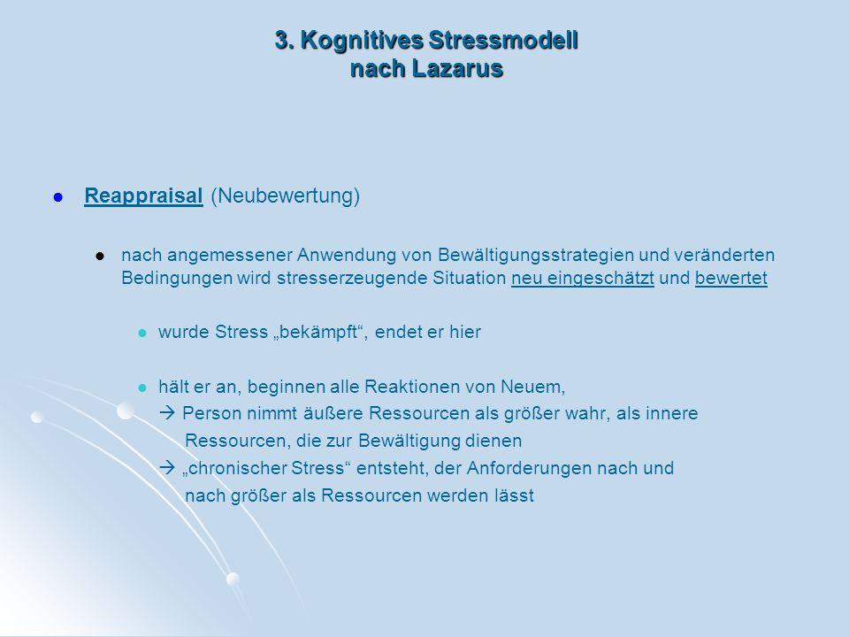 3. Kognitives Stressmodell nach Lazarus Reappraisal (Neubewertung) nach angemessener Anwendung von Bewältigungsstrategien und veränderten Bedingungen