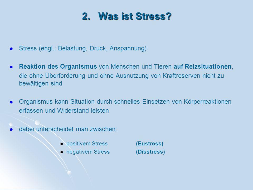 2. Was ist Stress? Stress (engl.: Belastung, Druck, Anspannung) Reaktion des Organismus von Menschen und Tieren auf Reizsituationen, die ohne Überford