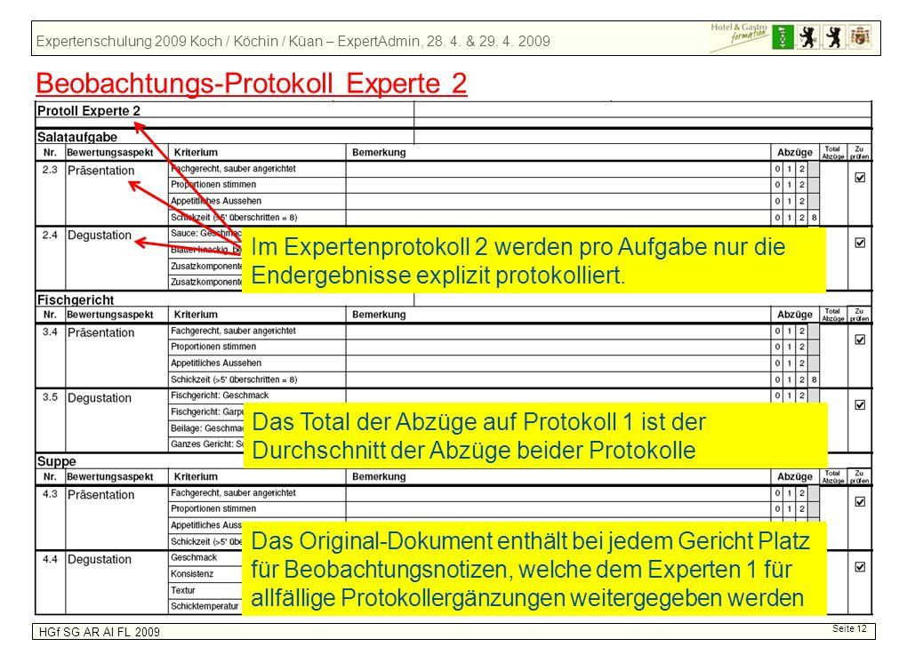 Expertenschulung 2009 Koch / Köchin / Küan – ExpertAdmin, 28. 4. & 29. 4. 2009 HGf SG AR AI FL 2009 Seite 12 Beobachtungs-Protokoll Experte 2 Im Exper