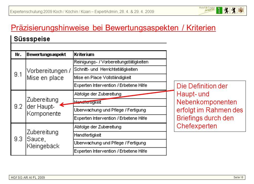 Expertenschulung 2009 Koch / Köchin / Küan – ExpertAdmin, 28. 4. & 29. 4. 2009 HGf SG AR AI FL 2009 Seite 18 Präzisierungshinweise bei Bewertungsaspek
