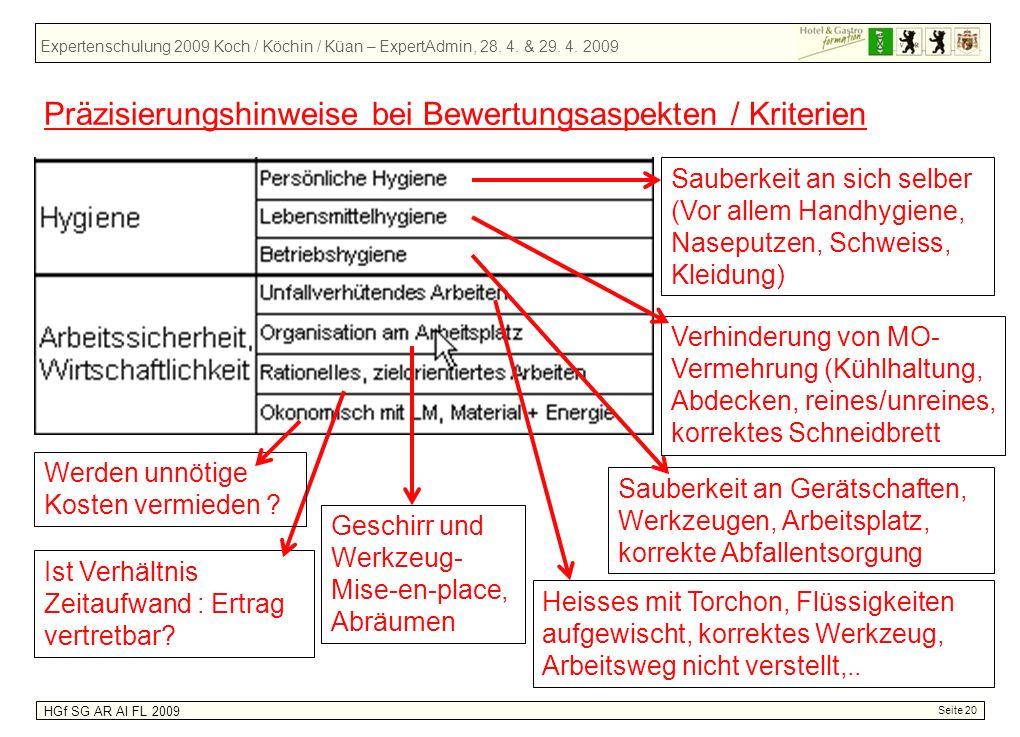 Expertenschulung 2009 Koch / Köchin / Küan – ExpertAdmin, 28. 4. & 29. 4. 2009 HGf SG AR AI FL 2009 Seite 20 Präzisierungshinweise bei Bewertungsaspek