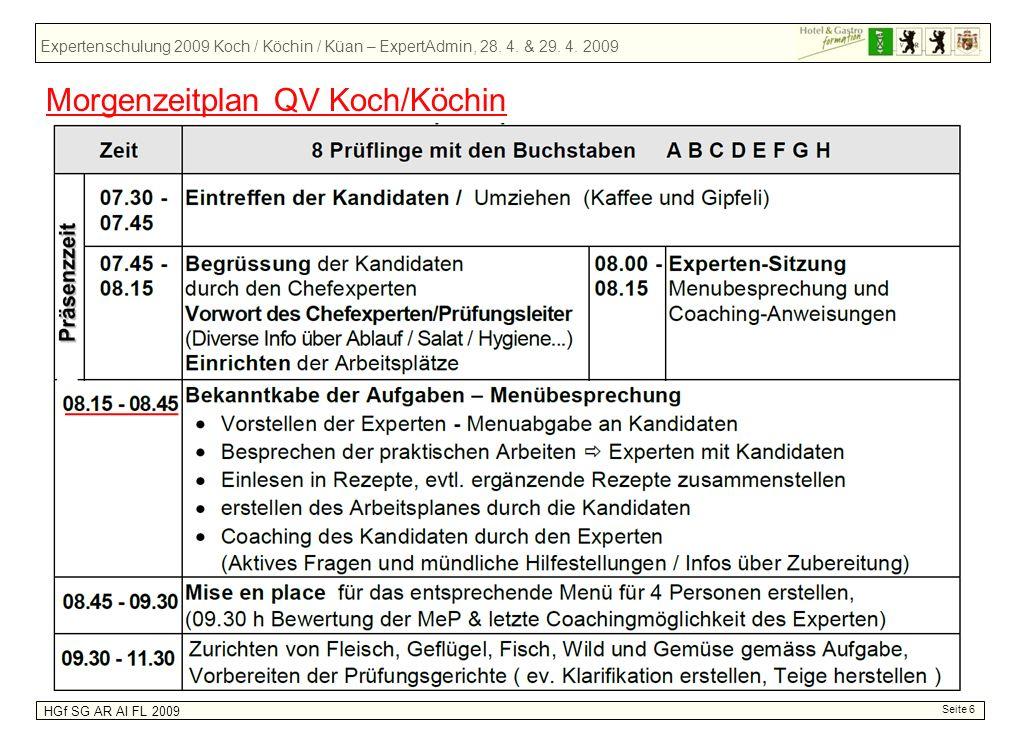 Expertenschulung 2009 Koch / Köchin / Küan – ExpertAdmin, 28. 4. & 29. 4. 2009 HGf SG AR AI FL 2009 Seite 6 Morgenzeitplan QV Koch/Köchin