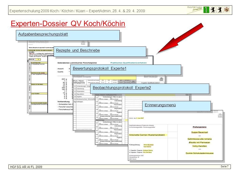 Expertenschulung 2009 Koch / Köchin / Küan – ExpertAdmin, 28. 4. & 29. 4. 2009 HGf SG AR AI FL 2009 Seite 7 Aufgabenbesprechungsblatt Rezepte und Besc