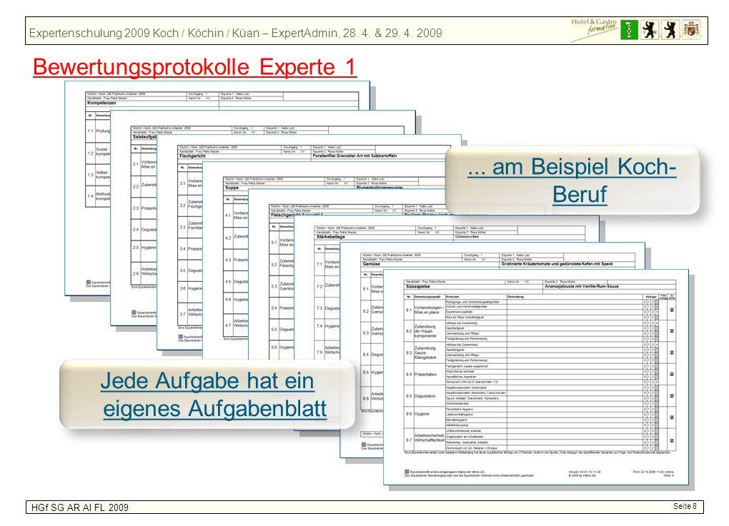 Expertenschulung 2009 Koch / Köchin / Küan – ExpertAdmin, 28. 4. & 29. 4. 2009 HGf SG AR AI FL 2009 Seite 8... am Beispiel Koch- Beruf Jede Aufgabe ha