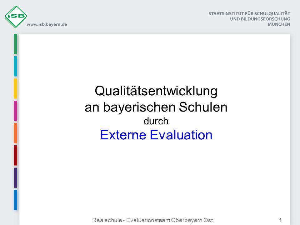 Realschule - Evaluationsteam Oberbayern Ost1 Qualitätsentwicklung an bayerischen Schulen durch Externe Evaluation