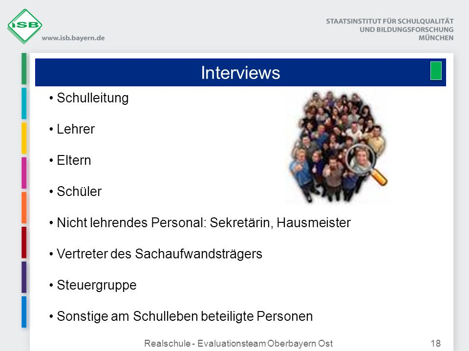 Interviews Realschule - Evaluationsteam Oberbayern Ost18 Schulleitung Lehrer Eltern Schüler Nicht lehrendes Personal: Sekretärin, Hausmeister Vertrete