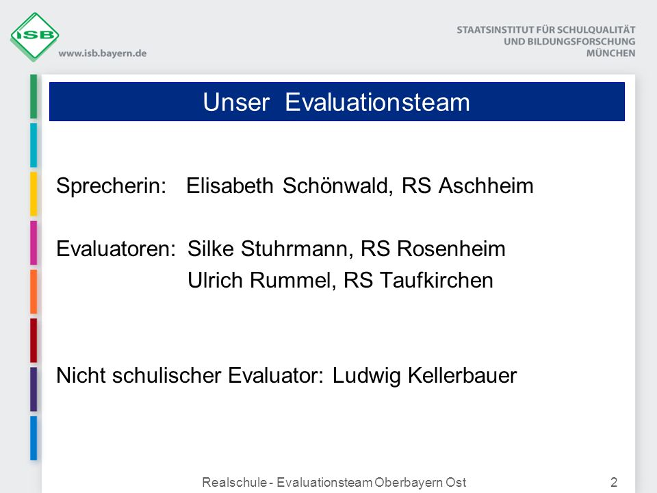 Realschule - Evaluationsteam Oberbayern Ost2 Unser Evaluationsteam Sprecherin: Elisabeth Schönwald, RS Aschheim Evaluatoren:Silke Stuhrmann, RS Rosenh