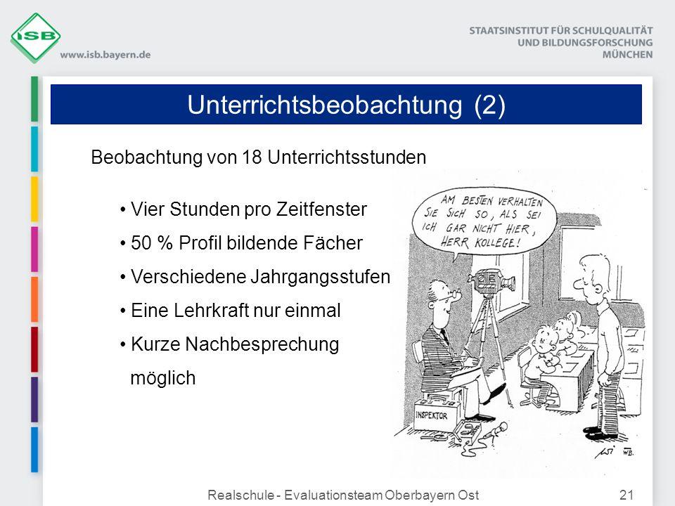 Unterrichtsbeobachtung (2) Realschule - Evaluationsteam Oberbayern Ost21 Beobachtung von 18 Unterrichtsstunden Vier Stunden pro Zeitfenster 50 % Profi
