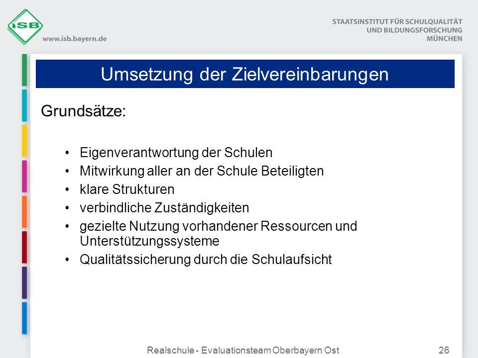 Realschule - Evaluationsteam Oberbayern Ost26 Umsetzung der Zielvereinbarungen Grundsätze: Eigenverantwortung der Schulen Mitwirkung aller an der Schu