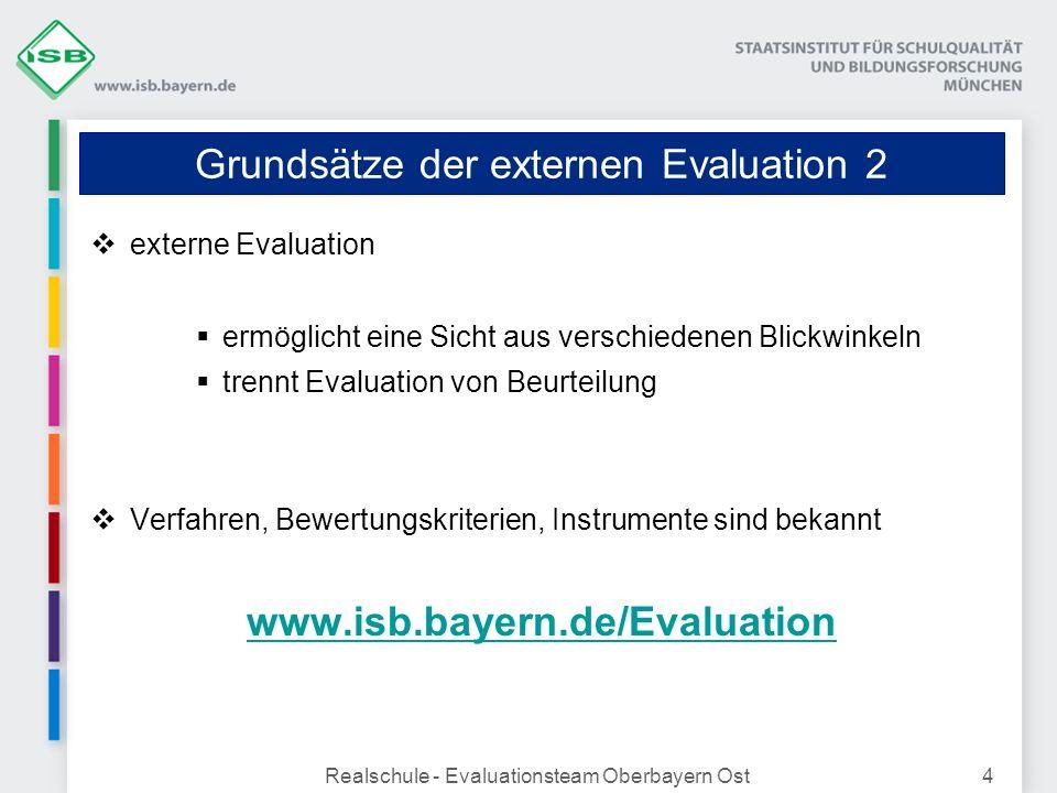 Realschule - Evaluationsteam Oberbayern Ost4 Grundsätze der externen Evaluation 2 externe Evaluation ermöglicht eine Sicht aus verschiedenen Blickwink