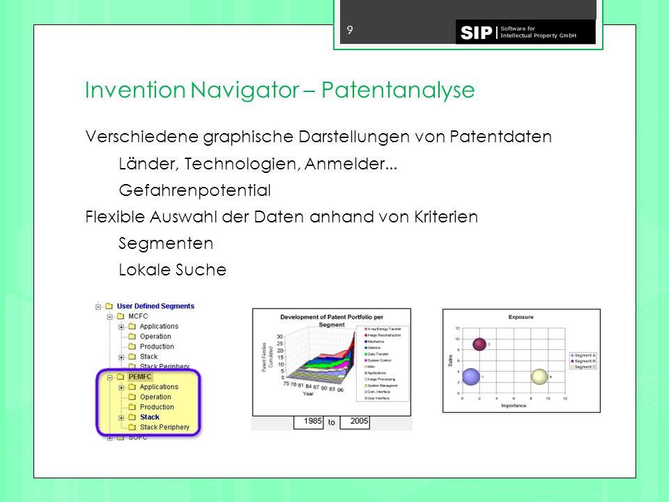 Invention Navigator - Auswählen 60 26.03.2014 Bei Auswahl eines Segmentes werden alle Patentfamilien die diesem und den darunter liegenden Segmenten zugeordnet wurden angezeigt.